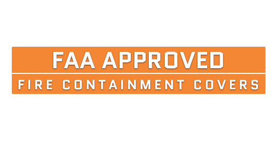 FAA Approved Fire Containment Covers Text Image
