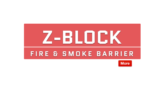 Z-Block fire and smoke barrier fabrics resist fire, smoke, and weather Text Image